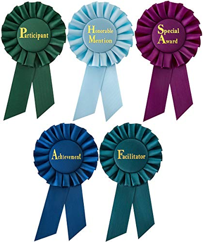 Clinch Star Rosette Award Ribbons Multipurpose - Participant - Honorable Mention - Special Award - Achievement - Facilitator - Set for Ceremonies and Events 6 inch
