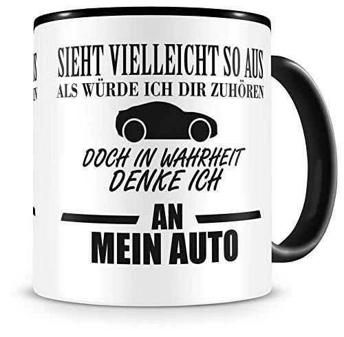 Samunshi® Auto Tasse mit Spruch Geschenk für Auto Mann Frau Kaffeetasse groß Lustige Tassen zum Geburtstag schwarz 300ml