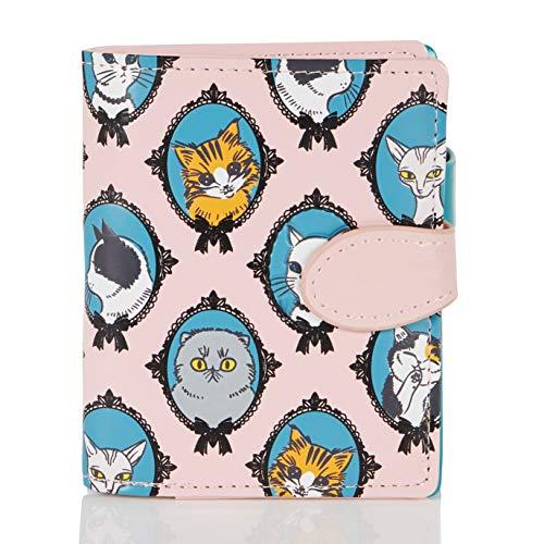 SHAGWEAR ® Portemonnaie Geldbörse Damen Geldbeutel Mädchen | Bifold Mehrfarbig Portmonee Designs: (Katze/cat)