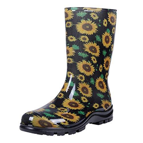 Asgard Women's Mid Calf Rain Boots Short Waterproof Garden Shoes Flower Print Sunflowers 39