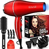 OVLUX Hair Dryer - 2800W Salon Professional Ionic Blow Dryer, Powerful & lightweight Hair Dryers With Diffuser And 2 Concentrators Birthday Gifts for Women and mom