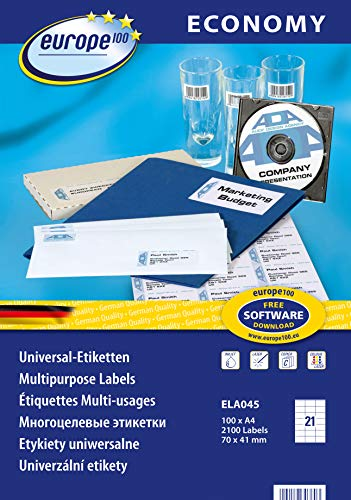 europe100 ELA045 Universal Etiketten A4 (70x41 mm, 2100 Etiketten auf 100 Blatt, selbstklebend, 3481) weiß