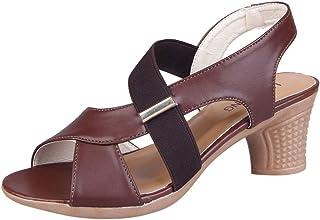 Women Square Heel Dance Sandals, Ladies Open Toe Solid Cross Strap Slipper Sandal Party Shoe