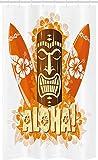 ABAKUHAUS Aloha Schmaler Duschvorhang, Tiki Bar Hibiskus Flora Art, Badezimmer Deko Set aus Stoff mit Haken, 120 x 180 cm, Hellgelb Orange Braun