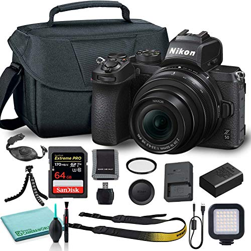 Nikon Z50 Mirrorless Digital Camera with 16-50mm Lens (1633) USA Model + Camera Bag + 46mm UV Filter + SanDisk 64GB Extreme PRO Memory Card + Hand Strap + Portable LED Video Light + More
