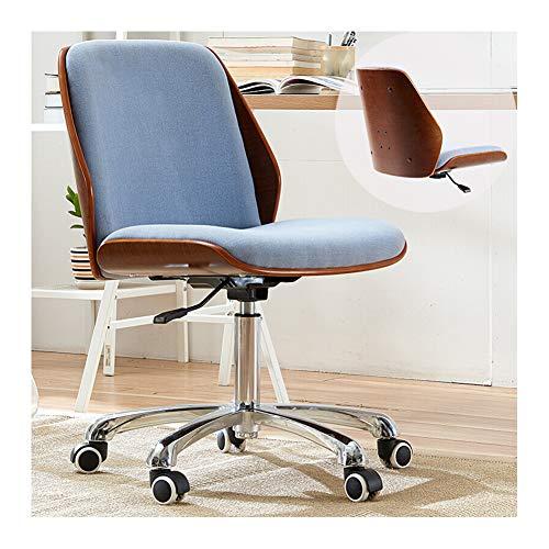Silla de oficina ergonómica de diseño ergonómico, asiento elevador giratorio simple, de madera maciza en la casa, de lino de algodón azul + respaldo de nogal