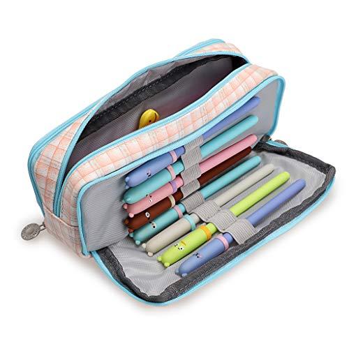 BSTKEY multifunctionele drievoudige lagen pennenetui houder tas - opbergtas, make-uptas, ritszak, schoolstudenten briefpapier voor jongens en meisjes, roze plaid