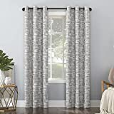 Sun Zero Parrish Distressed Grid Thermal Extreme Total Blackout Grommet Curtain Panel, 40' x 84', Grey
