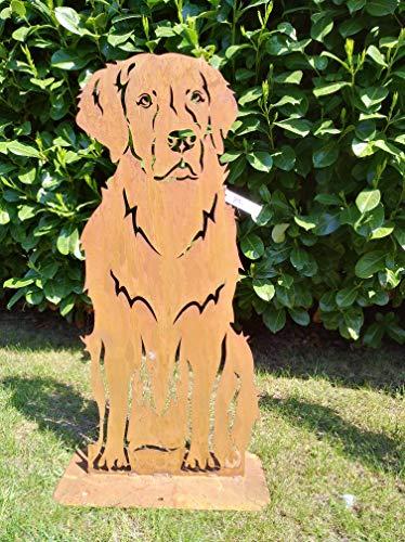 Gartenfigur Hund Retriever aus Metall Rostfigur Rost Deko Höhe ca. 80 cm GARTENDEKO FOCKBEK