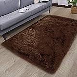 HYSEAS Faux Sheepskin Fur Area Rug Brown, 3x5 Feet Rectangle, Fluffy Soft Fuzzy Plush Shaggy Carpet Throw Rug for Indoor Floor, Sofa, Chair, Bedroom, Living Room, Home Decoration