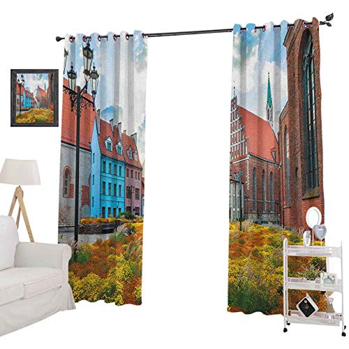 YUAZHOQI Victorian Curtains for Living RoomOld City Riga Latvia Capital with Historical Buildings Medieval Town Image Print Noise Reducing Curtain 52' x 72', Multicolor
