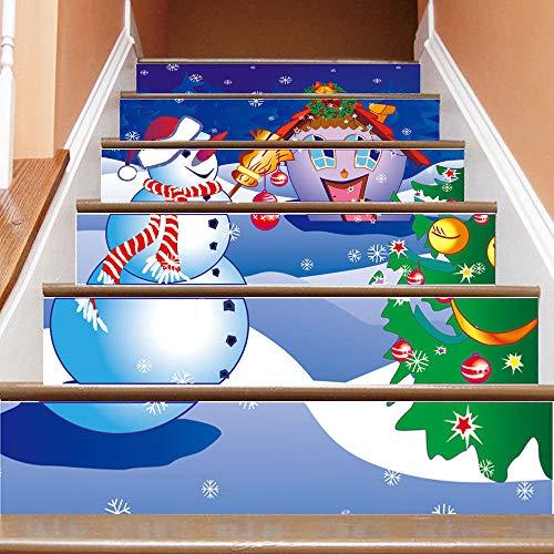 3D Sticker AbnehmbareTreppen Sticker -Weihnachten Schneemann Treppe Aufkleber 3D dekorative Treppe Aufkleber selbstklebende Wandaufkleber
