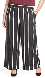 Vince Camuto Stripe Wide Leg Satin Pants, Size 3X - Black