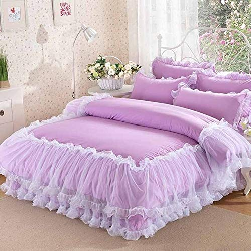 RONGXIE 4-delige witte kant sprei prinses effen kleur Lacework beddengoed Set King Queen Size Bed Set katoenen dekbedovertrek Bed Rok