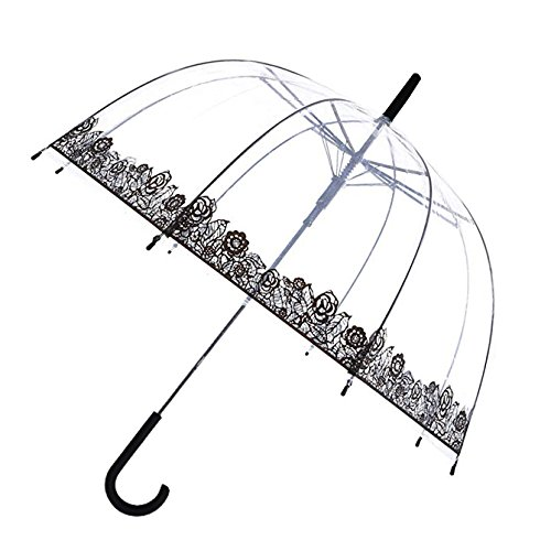 SMATI Stick Automatic Clear Stars Umbrella - Birdcage Bubble See Through (Flowers)
