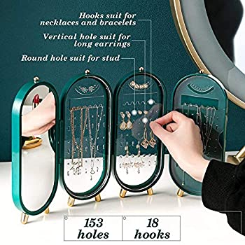 FUNDISINN Foldable Jewelry Box Organizer, Portable Earring Ring Necklace Display Stand Storage with Makeup Mirror for Women Gifts (Morandi)