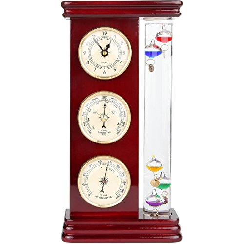 Lily's Home Analog Weather Station, with Galileo Thermometer, a Precision Quartz Clock, and Analog Barometer and Hygrometer, 5 Multi-Colored Spheres (6' L x 2' W x 12' H) - Gold