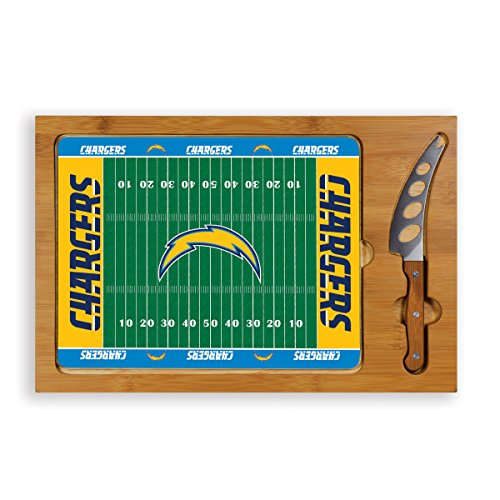 NFL Los Angeles Chargers Picnic Time Icon Cutting Board/Serving Tray and Knife Set Football Design - Brown