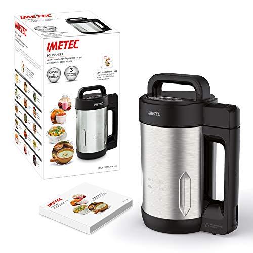 Imetec SM 1000 Soup Maker, Cuoce e Frulla, 3 Programmi Automatici, Vellutate, Zuppe e Frullati, 6 Porzioni, Lame Seghettate Acciaio Inox, con Ricettario, 900 W, 1.6 Litri