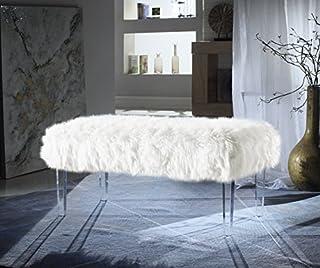 Iconic Home Trento Modern Contemporary Faux Fur Acrylic Leg Bench, White (B073HJPP5C) | Amazon price tracker / tracking, Amazon price history charts, Amazon price watches, Amazon price drop alerts