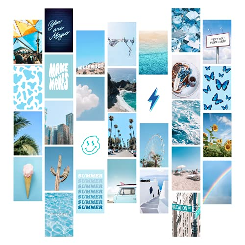 Beach Blue Photo Wall Collage Kit Aesthetic Pictures - by Starry House | 2 8x10 Inch Posters and 30 4x6 Inch Images (Set of 32) Aesthetic Room Decor, Teen Room Decor Aesthetic, VSCO Room Decor, Aesthetic Pictures