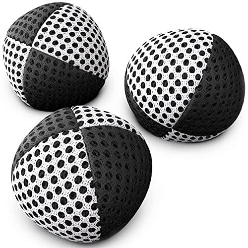 speevers XBalls Jonglierbälle professionelles 3er Set - Wurfbälle zum Jonglieren in 15 Farben - Jonglierset für Kinder, Erwachsene, Anfänger, Profis - Beanbags mit Tragetasche (schwarz-weiß, 110g)