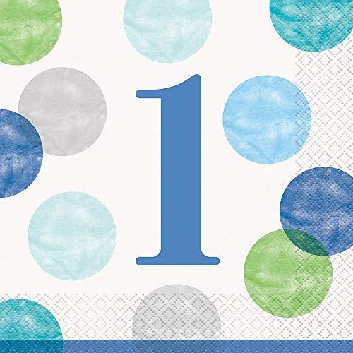 Papierservietten - 16,5 cm - Blaue Punkte 1. Geburtstag - Packung mit 16 Stück
