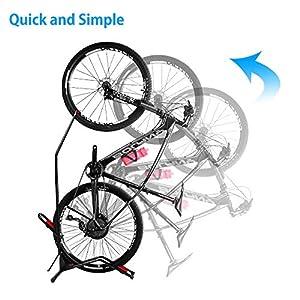 JAPUSOON Bike Stand Vertical Bike Rack,Upright Bicycle Floor Stand,Free Standing Adjustable Bike Garage Rack for Indoor Mountain/ Road Bike Storage,Saving Space-No Damage Wall,Fits Most 20''-27'' Bike