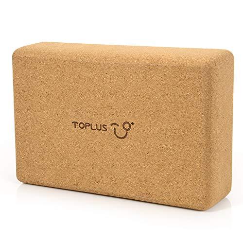 TOPLUS Bloque de yoga para principiantes y avanzados, 100% corcho natural, bloque de yoga para fitness, yoga, pilates y gimnasia, 750 g, 23 x 15 x 7,6 cm