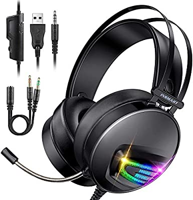INSMART Gaming Headset, PS4 Headset Soft Memory Earmuffs Gaming Headphones with Mic RGB Light Volume Control for Laptop Mac New Xbox One PS4 from Insmart