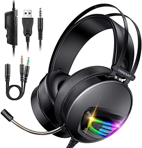 INSMART PS4 Headset, PC Gaming Headset Auch für Nintendo Switch, Xbox One & Laptop, 3.5mm PS4 Kopfhörer mit Mikrofon, Surround Sound System & Extra 3,5mm Y-Klinkenadapter