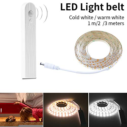 MENGZHEN 1 UNID Luz de Tira LED Luz Blanca cálida Regulable Cuerda de Cinta Contador inalámbrico Barra de Luces con Banda magnética Size Body Sensor/Powered by Battery (Cold Light 1M)
