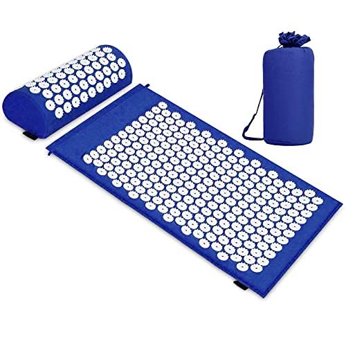 TNTY Esterilla de acupresión para Yoga, Colchoneta de masaje con almohada para aliviar el dolor corporal y el estrés, Stress Yoga, azul