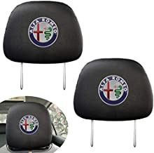 Headrest cover Set of 2 for Alfa Romeo, Black Gray Fabric Universal Scalable Set fits to Car Accessories…