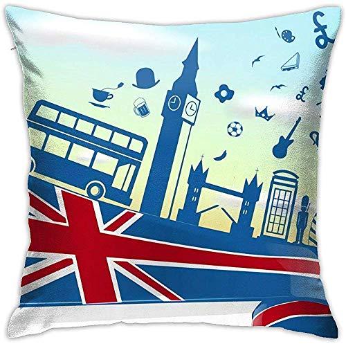 SSHELEY UK London Elemnet op vlag met Sky kussensloop zacht gooien kussen dubbelzijdig afdrukken bank kussensloop vierkant