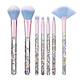 HAOYOUJIA Makeup Set 7pcs Clear Crystal Handle Makeup Brush , Sequins Diamond Piece Granule Blush Concealer Eyeshadow Brush Makeup Brush Set (Color : Blue)