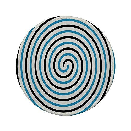 """Rutschfreies Gummi-rundes Mauspad, Türme-Dekor, Kurvenwind, in der Mitte fixiert Spirale konische Helix-Figur Hypnotisches Bild, Blau Schwarz, 7.9\""""x7.9\""""x3MM"""