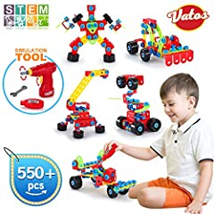 ✔ EDUCATIONAL STEM TOYS: Encourage both problem-solving & creative play, Vatos building blocks offers a wide array of project ideas and easy to assemble. A good resource to encourage early science, engineering, art, and math skills by challenging the...