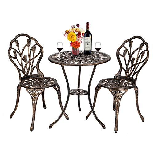 European Style Cast Aluminum Outdoor 3 Piece Tulip Bistro Set of Table and Chairs Bronze Excellent Outdoor Decorations, Patio Chairs/Tables