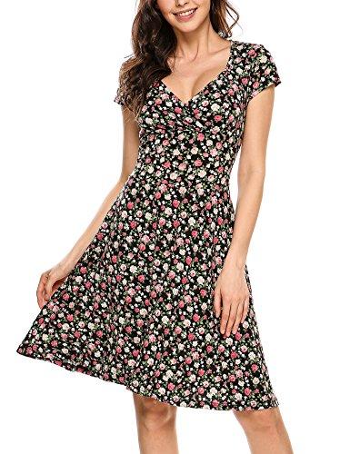 Beyove Damen Jersey Kleid Blumen Skaterkleid V-Ausschnitt Sommerkleider Muster Jerseykleid Sexy Kurz oder Langarm A-schwarz XL
