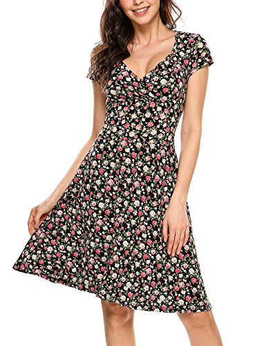 Beyove Damen Jersey Kleid Blumen Skaterkleid V-Ausschnitt Sommerkleider Muster Jerseykleid Sexy Kurz oder Langarm A-schwarz S