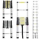 3.8M 12.5 Feet Telescopic Ladder Steps Multi-Purpose Aluminium DIY Extendable 13 Steps 150KG Loading Capacity EN131 Certificate Kit For Home Loft Office UK Stock