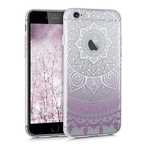kwmobile Funda Compatible con Apple iPhone 6 / 6S - Carcasa de TPU y Sol hindú en Rosa Claro/Blanco/Transparente