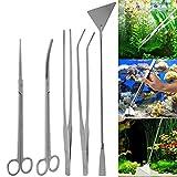 harupink strumenti per acquario a 5 pezzi in acciaio inossidabile per piante vive erba acquario acquario strumento di pulizia con pinzette forbici
