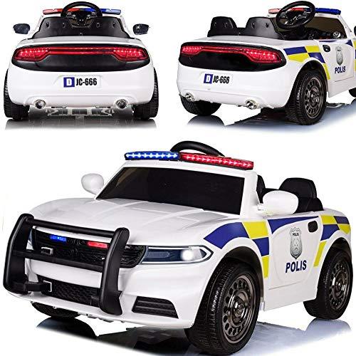 BPD Elektroauto elektrisches Kinderauto SE-Polizeiauto Weiss mit 12V Akku weiche Eva-Reifen Ledersitz 2x45W Motoren