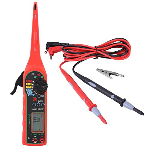 Qiilu Multimètre de Mesure de Voiture, Ampèremétrique Circuit Testeur Multimètre numérique Lampe de Voiture de Réparation Automobile Outil de Diagnostic de Auto(rouge)