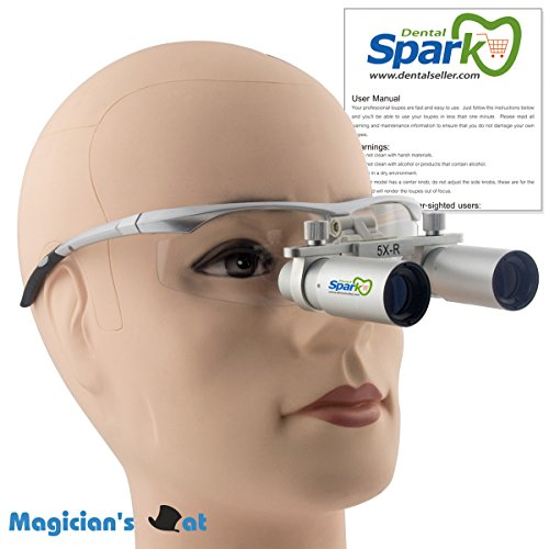 Spark 拡大鏡 5.0倍に拡大でき 専門 歯科用 精密420mm調整でき ヘッドルーペ メガネルーペ 折りたたみができ 製作 機械 作業 生物研究 開発 手術 歯科 医用 医者 眼科 外科にも使える 拡大鏡 虫眼鏡 双眼ルーペ 時計見ルーペ