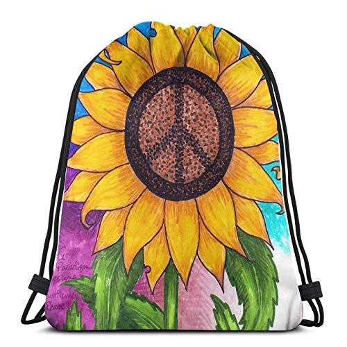 jingqi Friedenszeichen Sonnenblume Gymsack,Leichter Turnbeutel,Reisesackpack,Kordelzug Taschen,Sporttaschen Drucken,Sport Cinch Pack