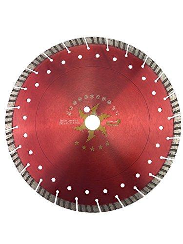 PRODIAMANT Premium Diamant-Trennscheibe Beton Turbo 350 mm x 30 mm Diamanttrennscheibe 350mm Concave-Turbo Beton/universal für Tischsäge 14mm Turbo-Diamantsegment