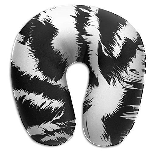 Almohada para el Cuello Snow Tiger Stripes Almohada de Viaje en Forma de U Diseño ergonómico Contorneado Funda Lavable